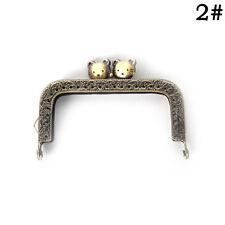 1X 8.5cm Bronze Cat Head Purse Frame Handle Kiss Clasp DIY Bag ClutchK8Sy-