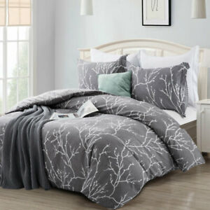 Large 3 Piece Grey Winter Bedding Set Reversible Branches Duvet Cover King Size