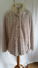Dennis by Dennis Basso Cream Soft Faux Fur Button Up Long Sleeved Jacket Size L