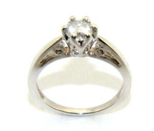 Ladies women's 9carat white gold diamond solitaire engagement ring size I 1/2