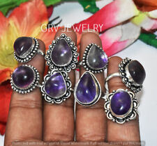 Amethyst Gemstone 15pcs Ring Wholesale Lot 925 Sterling Silver Overlay WHR-9