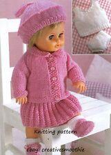 (45) DK Knitting Pattern for Dolls Cardigan, Skirt, Beret, Shoes &more, 12-22''