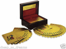 24K £ GOLD PLATED PLAYING CARDS FULL POKER DECK 99.9% PURE WITH BOX