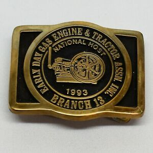 Early Day Gas Engine & Tractor Assn 1993 National Host Brass Belt Buckle