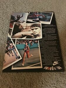 Vintage 1984 NIKE RUNNING STEVE PREFONTAINE Poster Print Ad 1980s RARE