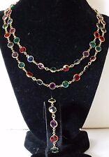 Swarovski Swan Crystal Bezel Set Necklace Bracelet Set Blue Red Purple Green