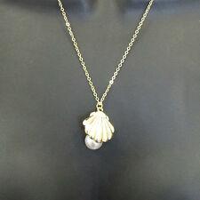 Gold Sea Shell White Pearl Necklace Mermaid's Locket Ariel Beach Festival 1AH
