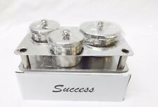 SUCCESS Stainless Steel Dappen Dish Liquid and Powder 3CT SET w/ Holder