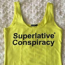 SUPERLATIVE CONSPIRACY YELLOW NEON DRESS SKIRT SHIRT WOMENS Beach Summer
