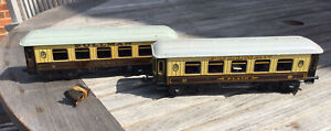 O Gauge BING Pair Of Pullman Coaches with Hinged Roofs, Minerva & Plato, Good