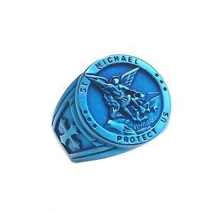 Archangel Warrior St Michael Angel Cross Sword Blue Jewelry Stainless Steel Ring