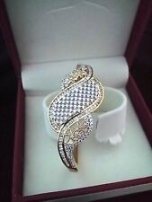 AAA+ CUBIC ZIRCON GOLD PLATED OPENABLE BANGLE BRACELET FOR PARTY-FUNCTION-PROM