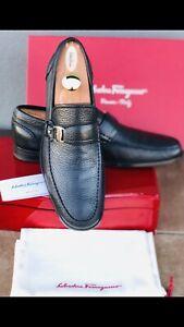 Ferragamo Mens Loafers Black Size 10 slip on Mens shoes Gancio Side Buckle