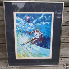 Downhill Alpine turning snowskier limited edition print EC framed!