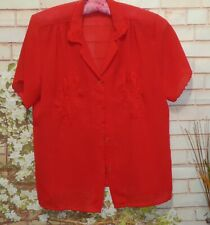 Sheer Rich Red Blouse size M