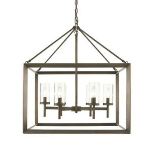 Golden Lighting Olympia Chandelier, Gunmetal Bronze - 2073-6GMT