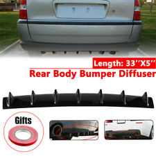Universal Lower Rear Body Bumper Diffuser Shark Fin Kit PU Spoiler Gloss Black