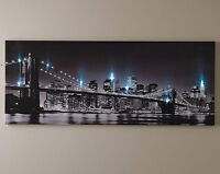 LED Light Up New York Brooklyn Bridge Canvas Picture Wall Hanging USA Art