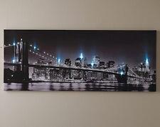LED Light Up New York Brooklyn Bridge Canvas Picture Wall Hanging USA Art