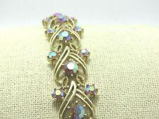"Vintage Coro Aurora Borealis Rhinestone Bracelet, 1960's, 7"", 3/4"" Wide"