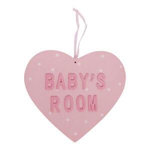 Pink Wooden Babys Room Heart Hanger – Gisela Graham - Bedroom Nursery New Baby