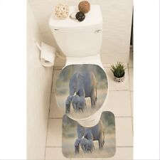 Elephants Set of 3 Bathroom Rug Set Mat Toilet Lid Cover y70 y0220