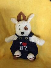 White Puppy W/Brown Eye Patch In I Love NY Denim Overalls/Baby Backpack