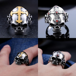Mens Stainless Steel Gothic Skull Cross Biker Band Ring Gold Silver CZ Jewelry