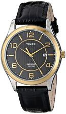 Timex T2P450, Men's Easy Reader Black Leather Watch, Indiglo, Date