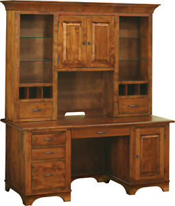 """68"""" Amish Executive Computer Desk Hutch CPU Home Office Solid Wood"""