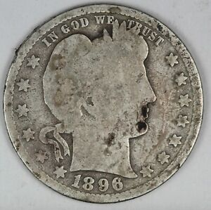 1896-O United States Barber Head Quarter - G Good Condition