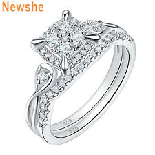 Round Cz 925 Sterling Silver 5-10 Newshe Wedding Engagement Ring Set For Women