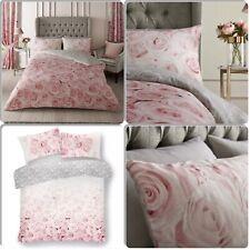 Blush Pink Rose Flower Duvet Set Reversible Grey Quilt Cover Bedding All Sizes