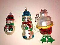 3 Different Glass Snowman Christmas Tree Ornaments