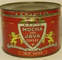 Old Vintage 1950s SS PIERCE CO GRAPHIC COFFEE TIN ONE POUND BOSTON MASSACHUSETTS