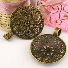 3Pcs Antiqued Bronze Bail Round Fit Charm Bracelet 46x60mm A4798
