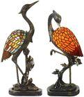 Tiffany Crane Bird Table Lamp Retro Stained Glass & Resin 1 Light Desk Lamp