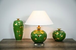 LED Table Light, Round Shaped Golden and Green Ceramic Table Lamp
