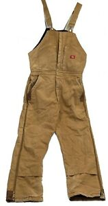 """Dickies Canvas DISTRESSED Insulated Work Overalls Bib Men's Chest 33"""" Inseam 30"""""""