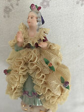 Miniature German Dresden Porcelain Lace figurine with Crown Hallmark
