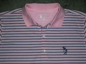 Men's NWOT FAIRWAY & GREENE TECH Golf Polo XL PINK w/Blue Stripes w/Golf Logo