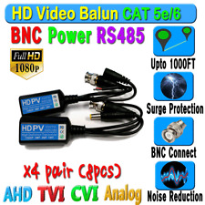 x4 pairs Hd Balun Cctv Bnc Video Data mic Rs485Power Cat5e/6 Protect 1080P 720P