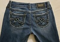 Miss Me Easy Straight Leg Womens Denim Blue Jeans Size 28 x 31 Med Wash Mid Rise