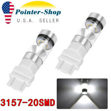 2Pcs Pure White 3157 3156 20SMD 100W Tail Brake Stop/Parking LED Light Bulbs