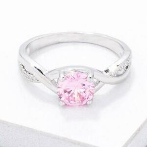 6 mm Rose Pink October CZ Birthstone Round Cut Lady Engagement Ring Size 5-10