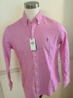 NWT Polo Ralph Lauren Pink Oxford Men Gingham L/S Button Shirt Classic Medium M