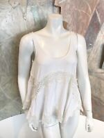 AEO American Eagle Outfitters Soft & Sexy White Lace Tank Blouse Swing Top XS