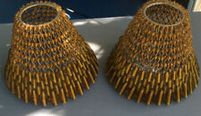 Two Small Metal Wire And Gold Beaded Lamp Shades