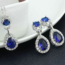 Beautiful White Gold Plated CZ Cubic Zirconia Earrings & Necklace set