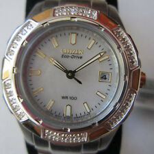 CITIZEN ECO-DRIVE AVIARA LADY'S WATCH QUARTZ DIAMOND ALL S/S TWO TONE EW1374-51D